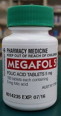 GENUINE Megafol 5mg Folic Acid 100 Tablets