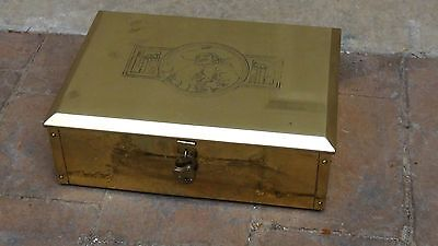 ANTIQUE 19c FRENCH GILT BRASS ENGRAVED ORNAMENTAL TABLE PIPE,TABACCO HOLDER BOX