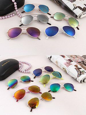 Kids Boy Girl Aviator Sunglasses Reflective Lens Gold Silver Frame AU Shipping