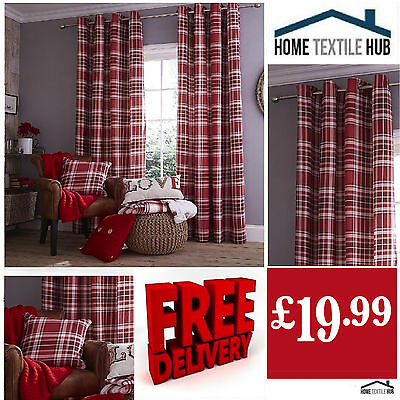Catherine Lansfield Luxury/Designer Fully LinedRed Twill Tartan Eyelet Curtains