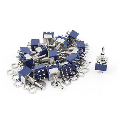 20Pcs AC 125V 6A 6Pin ON-OFF-ON 6mm Thread DPDT Locking Mini Toggle Switch Blue