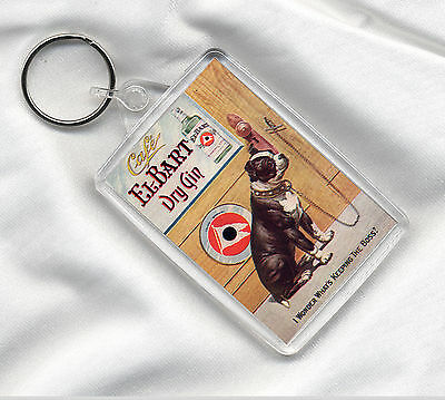 Key Ring With Boston Terrier Gin Advert Dog Print Image Insert Great Gift