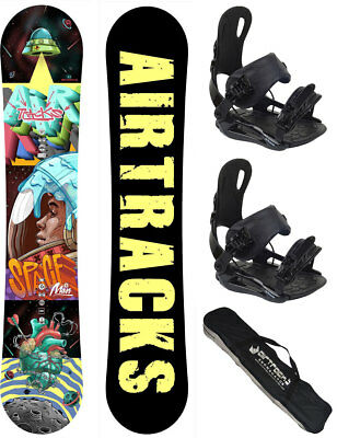 Snowboard Set AIRTRACKS Spaceman Carbon Rocker Wide+Bindung+Bag+Pad /152 157 cm/
