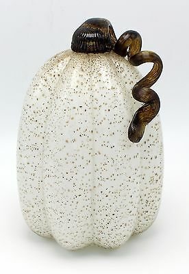 "New Large 9"" Hand Blown Art Glass White Pumpkin Sculpture Figurine Harvest Fall"
