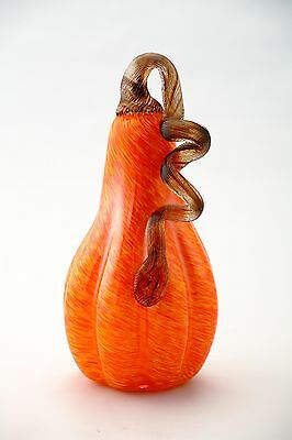 "New Large 9"" Hand Blown Art Glass Orange Pumpkin Sculpture Figurine Harvest Fall"