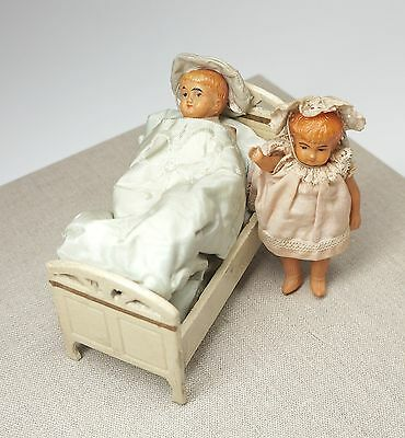 """Pair Antique Celluloid Boy & Girl Dolls 4.25"""" + Bed & Covers Early Turtle Mark"""