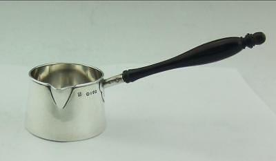Antique Victorian English Solid Silver Brandy Warmer Saucepan