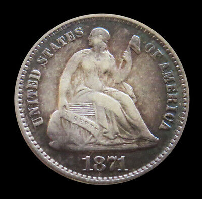 1871 Silver United States Seated Liberty Half Dime Coin Vf / Xf Condition