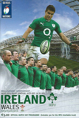 Ireland v Wales Championship season for Ireland 8 Feb 2014  RUGBY PROGRAMME