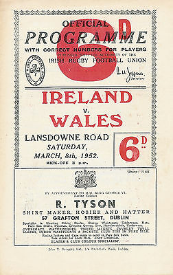 Ireland v Wales Grand Slam season for Wales 8 March 1952 Dublin RUGBY PROGRAMME