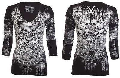Xtreme Couture AFFLICTION Womens LS T-Shirt OFFERING Biker UFC Sinful $58 a
