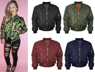 Ladies MA1 Classic Padded Bomber Jacket Womens Vintage Zip Up Biker Coat Stylish