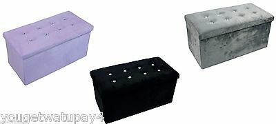 Large Faux Suede Diamante Ottoman Storage Box Footstool Seat Black Grey Or Pink