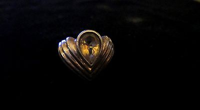 Nice Vintage .925 Mexican Stylish  Sterling Ring With Yellow Gem Stone Inset