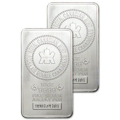 Two (2) 10 oz. RCM Silver Bar - Royal Canadian Mint .9999 Fine