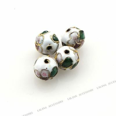 50x Hot Sale Charms Jewelry Round White Flower Cloisonne Spacer Beads 8mm DIY L