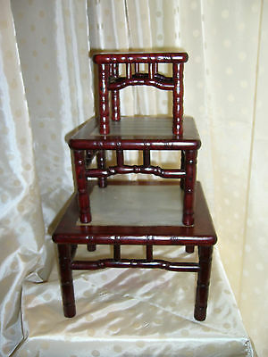 Tables Gigognes Chine Bambou Marbre China Wood Marble Nest Tables Display Stands