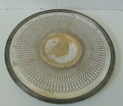 """Vintage Poole Silver Co #8530 Round Pierced 10-1/4"""" Nickel Silver Tray-Used"""