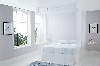 King Size Deluxe White Box Mosquito Net Bed Canopy Four Poster Bed Style