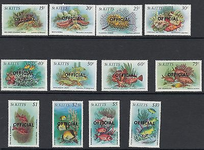 ST KITTS :1984 OFFICIAL overprints on Marine Life definitives SGO29-40 n.h.mint