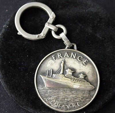 "Vintage FRENCH LINE SS ""FRANCE"" Silverplate Key Chain"