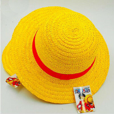 One Piece Luffy Straw Hat Yellow Red Ribbon Cosplay Adult Cap Costume Accessory