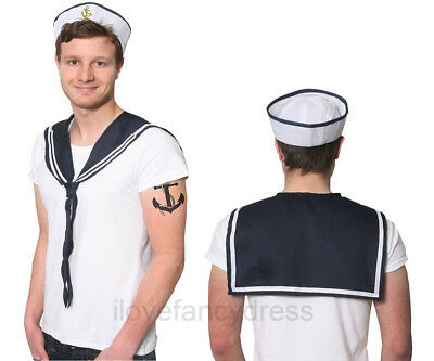 Mens Doughboy Sailor Set Hat And Scarf Kit Navy Marine Fancy Dress Costume
