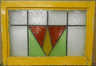 """OLD ENGLISH LEADED STAINED GLASS WINDOW Gorgeous Geometric 25.5"""" x 18"""""""