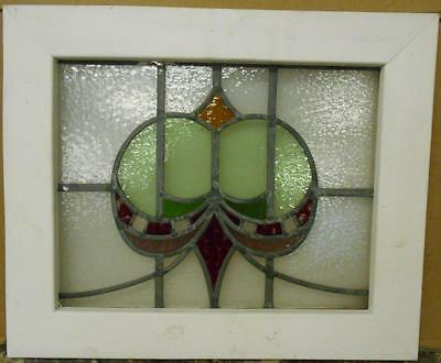 "OLD ENGLISH LEADED STAINED GLASS WINDOW Beautiful Abstract Design 21"" x 17.25"""