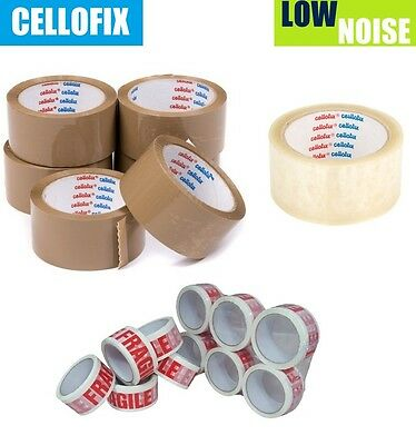 12 x CELLOFIX LOW NOISE PACKING PARCEL TAPE ROLLS BROWN / CLEAR / FRAGILE TAPES
