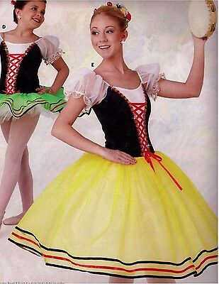 NWT Germanic Romantic Length Ballet Costume 2 colors offered ch/ladies ribbon tr