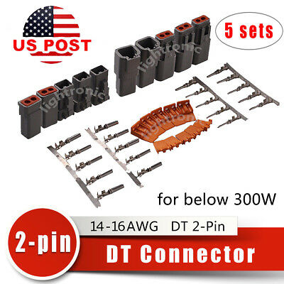 5 sets Deutsch DT 2-Pin Solid Connector Kit 14-16 AWG Male& Female High Quality