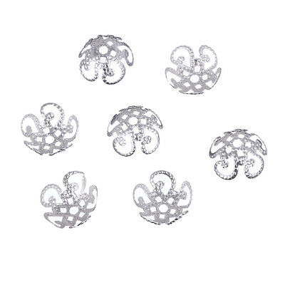 Wholsale 200 Pcs Sivery Hollow Flower End Spacer Beads Caps DIY Jewelry Making
