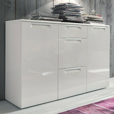 canberra sideboard i hochglanz wei mit glasplatte kommode. Black Bedroom Furniture Sets. Home Design Ideas