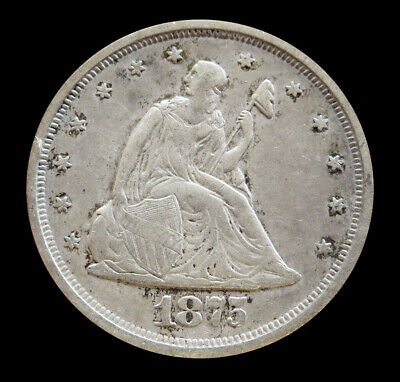 1875 -S Silver Us Seated Liberty Twenty Cent Piece -  Fine Condition