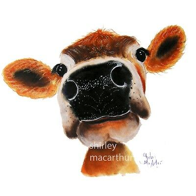 JERSEY COW PRINTS of Original NOSEY Painting 'JERSEY JOY' by SHIRLEY MACARTHUR