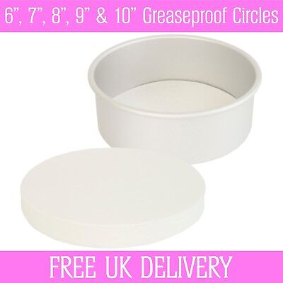 "6"", 7"", 8"", 9"" & 10"" Inch - Greaseproof Circles - Round Baking Paper Tin Liners"