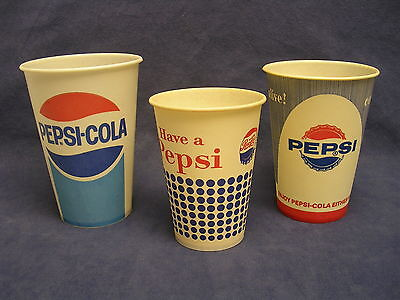 vintage Pepsi Cola 1950's paper wax soda cups Original nice condition set