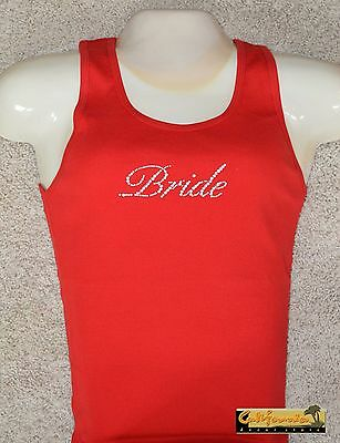 """BRIDE"" Red Tank Top American Apparel Shirt Wedding Gift Junior Womens Size"