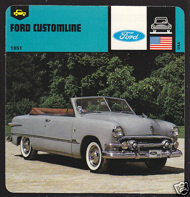 1951 FORD CUSTOMLINE CONVERTIBLE Car Picture Photo CARD