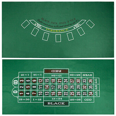 Blackjack and Roulette Felt Table Top Reversible Layout