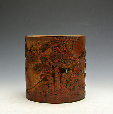 Big Vintage Chinese Ming Li Liufang MK Carved Warrior Figures  Bamboo Brush Pot