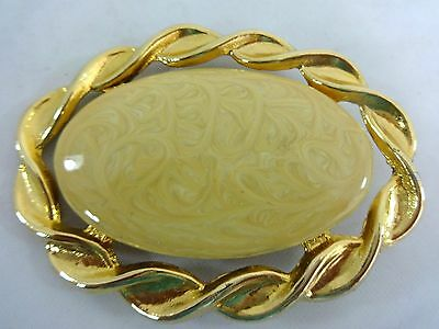 "Vintage Gold Swirl Peach Polished Stone Center Nan Lewis Belt Buckle 3.5"" X 2.5"""