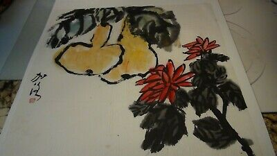 Vintage Chinese After Qi Baishi Watercolor  Painting Flowers& Fruits,signed