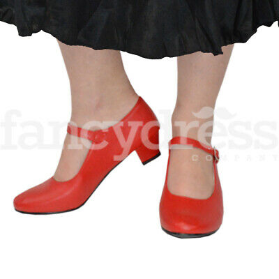 Girls Red Spanish Flamenco Shoes Dance World Book Week Costume NEW
