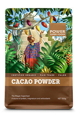 POWER SUPER FOODS Cacao 500g Organic Pure Raw Chocolate Powder Mayan superfood