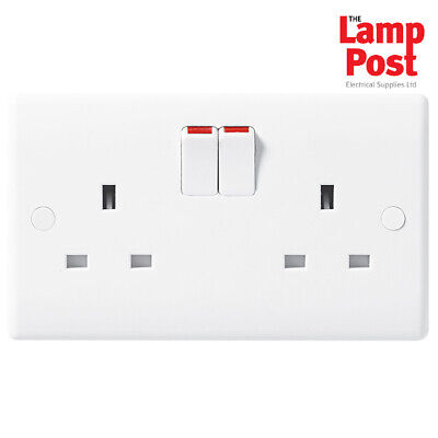 BG Nexus 822 Moulded Slimline 2 Gang 13A Double Twin Switched Socket White