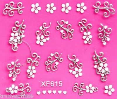 Nail Art Stickers Decals Transfers White Silver Wedding Flowers Lace hearts 615
