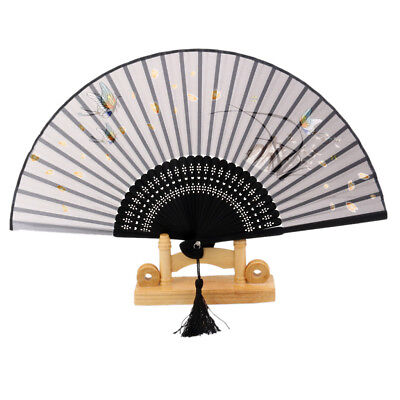Japanese Cotton Fabric Silk Butterfly Sakura Folding Wedding Dance Hand Fan
