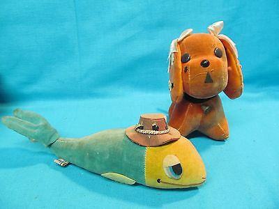 LOT OF 2 1960's SAWDUST R. DAKIN DREAM PETS WHALE & 217 WENDY PUPPY DOG WITH TAG